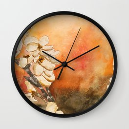 Oriental Modern Art Flowers Wall Clock