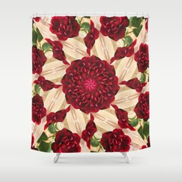 Old Red Rose Kaleidoscope 14 Shower Curtain