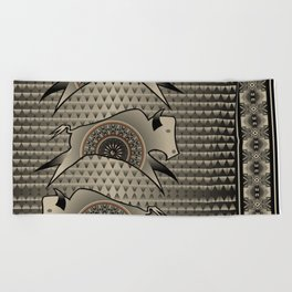 Buffalo Running (Gray) Beach Towel