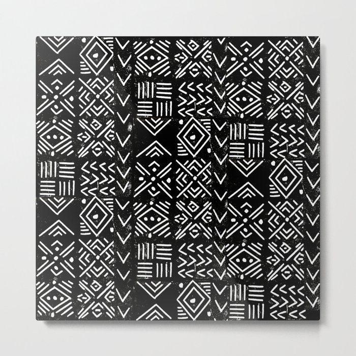 Mudcloth 3 black and white minimal pattern linocut print abstract Metal Print
