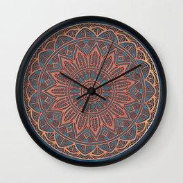 Wooden-Style Mandala Wall Clock