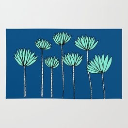 Blue and Teal Tropical Botanical Print by Emma Freeman Designs Rug