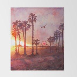 Sunset in Santa Monica Throw Blanket
