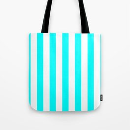 Vertical Stripes (Aqua Cyan/White) Tote Bag