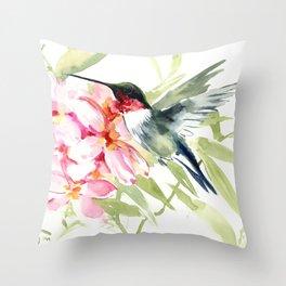 Hummingbird and Plumerias Throw Pillow