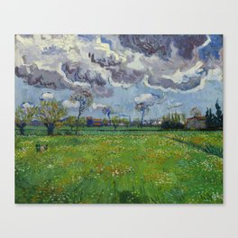 Meadow With Flowers Under a Stormy Sky Canvas Print