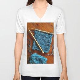 knitting photo, denim, denim photo, blue, wood, knitting, knit, brown, Unisex V-Neck