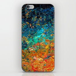 ETERNAL TIDE 2 Rainbow Ombre Ocean Waves Abstract Acrylic Painting Summer Colorful Beach Blue Orange iPhone Skin