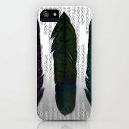 Feathers on silver iPhone Case