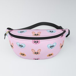 Cute Rabbit, Mouse and Cat Catoon Icon Pattern in Pink Fanny Pack