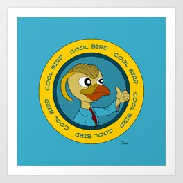 Cool cartoon bird giving thumbs up Art Print