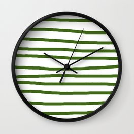 Simply Drawn Stripes in Jungle Green Wall Clock