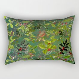 Christmas Pattern with Green Background Rectangular Pillow