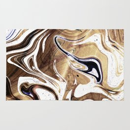 Metallic Gold Purple White Marble Swirl Rug
