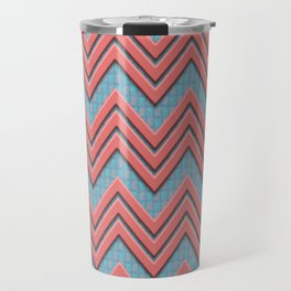 Coral Chevrons on Teal/Coral Background Travel Mug