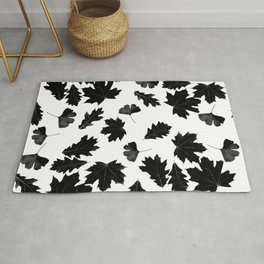 Falling Autumn Leaves in Black and White Rug