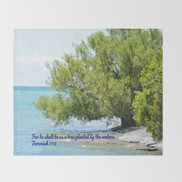 Tree By The Water With Scripture Quote Throw Blanket