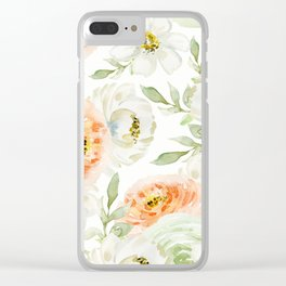 Big Peach and White Flowers Clear iPhone Case