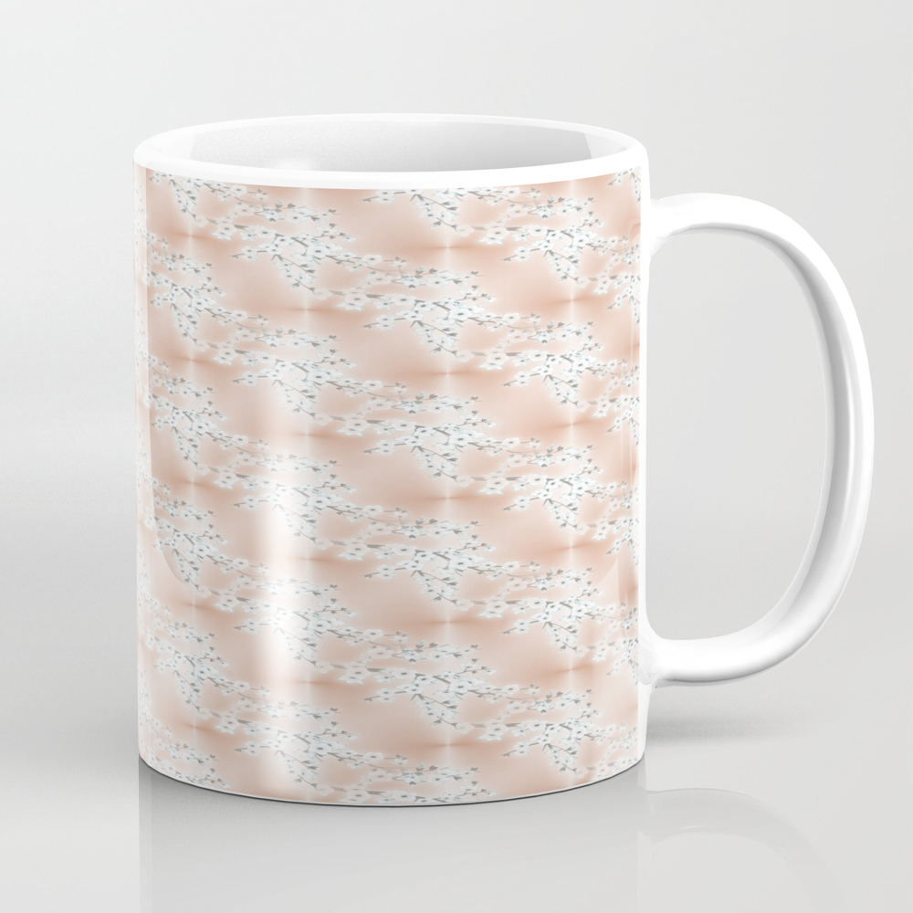 Rose Gold Cherry Blossom Pattern Coffee Cup by Ninabaydur MUG9011229