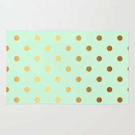 Gold polka dots on mint background - Luxury pattern Rug