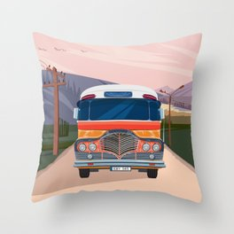 Retro Bus Throw Pillow