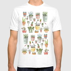 Potted Succulents Mens Fitted Tee MEDIUM White