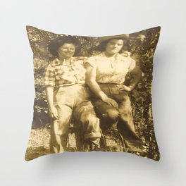 Western Vintage Cowgirls Sweethearts Of The Rodeo Throw Pillow