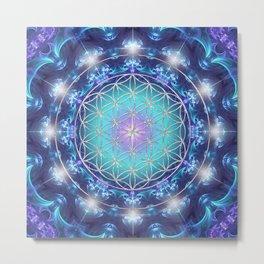 Flower Of Life Mandala Fractal turquoise Metal Print