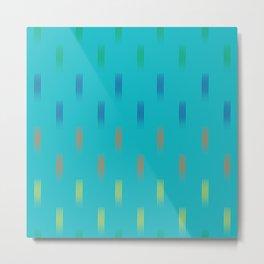 Lines rainbow on turquoise Metal Print