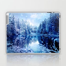 Blue Winter Wonderland : Forest Mirror Lake Laptop & iPad Skin