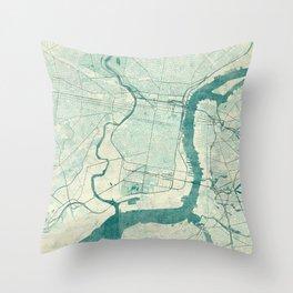 Philadelphia Map Blue Vintage Throw Pillow