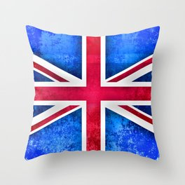 Grunge British Flag Throw Pillow