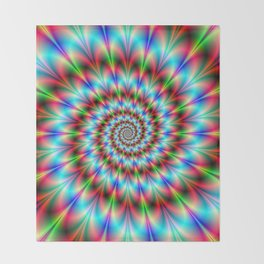 Spiral Rosette in Blue Green and Red Throw Blanket