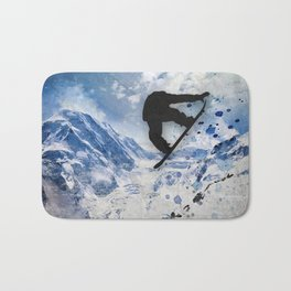 Snowboarder In Flight Bath Mat
