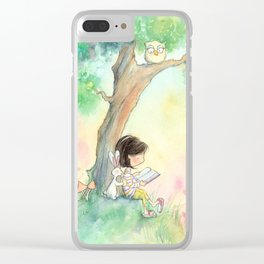 Brunette Girl Reading to Bunny at Sunset Clear iPhone Case