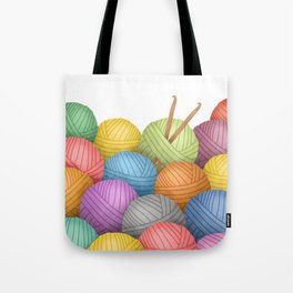 Two Crochet Hooks And A Lot Of Yarn Tote Bag
