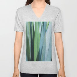 blue and green leaves Unisex V-Neck