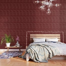Paisleys in Maroon - by Fanitsa Petrou Wallpaper
