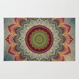 Retro Folk Art - Spirit Lotus Mandala Blue Red Rug