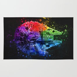 Millennium Falcon Splash Painting - Star ship Wall Art Rug
