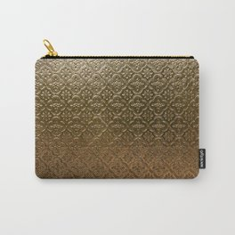 Metal golden texture embossed gold floral pattern Carry-All Pouch