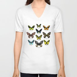 Butterfly012_Ornithoptera Set1 on White Background Unisex V-Neck