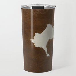 Dark Brown & White Cow Hide Travel Mug