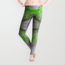 Psycho - Green Slime and Purple Fancy in a Reptile Universe by annmariescreations Leggings
