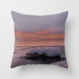 Icy Watercolor Sunrise Throw Pillow
