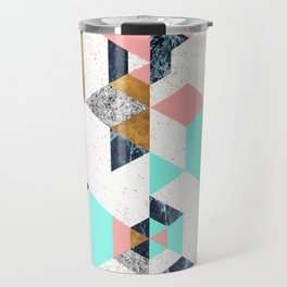 Mosaic geometric with textures Travel Mug