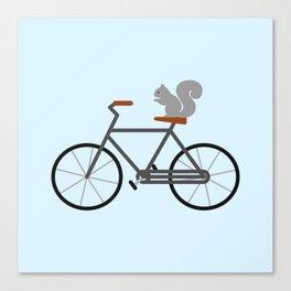 Squirrel Riding Bike Canvas Print
