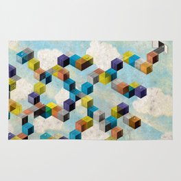 Abstract Geometric 3D Cubes Rug