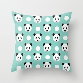 Panda polka dots pattern print minimal trendy kids design pillow cell phone cute panda cub character Throw Pillow