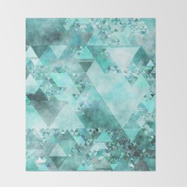 Triangles in aqua - Modern turquoise green blue triangle pattern Throw Blanket